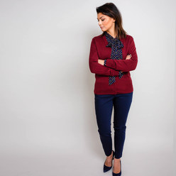 Damen Pullover in Weinrot Willsoor 10278, Willsoor