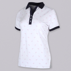 Damen Polo T-Shirt mit Flamingo Print 10820
