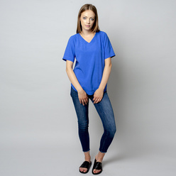 Damen T-Shirt in blau mit Leinenzusatz 10909, Willsoor