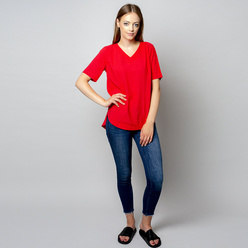 Damen T-Shirt in rot mit Leinenzusatz 10910, Willsoor