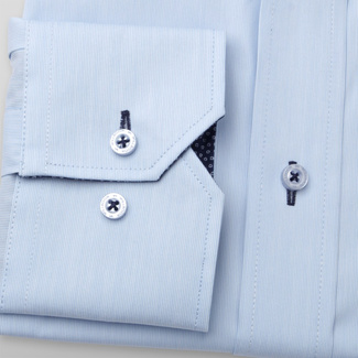 Männer Slim Fit Hemd Willsoor blau glatt gestreift, Willsoor