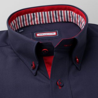 Männer Slim Fit Hemd Willsoor rot dunkelblau glatt, Willsoor