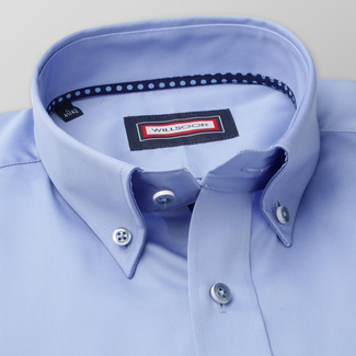 Männer Slim Fit Hemd Willsoor blau glatt, Willsoor