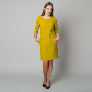 Midi-Kleid in Senffarbe 11906, Willsoor