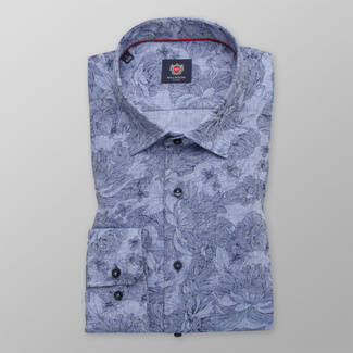 Männer Slim Fit Hemd Willsoor blau floral, Willsoor
