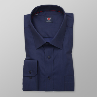 Men's classic shirt in a dark blue color with a delicate pattern 12268, Willsoor