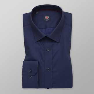 Men's classic shirt in a dark blue color with a delicate pattern 12269, Willsoor