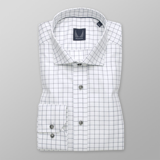 Herren Slim Fit Hemd in Weiß mit Karomuster 12332, Willsoor