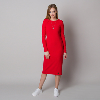 Geripptes Damenkleid in Rot, Willsoor