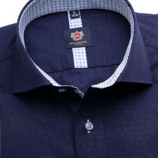 Herren Slim fit Hemd London (Körperhöhe 176-182) 6331 in dark  blue farbe mit formeln Easy Care