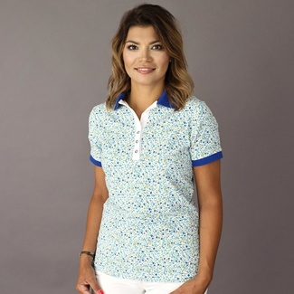 Damen Polo T-Shirt 8121 in white farbe mit Design blumen, Willsoor
